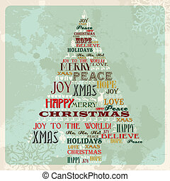 Vintage merry christmas concept tree - Vintage Merry...