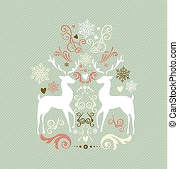 Vintage Merry Christmas decoration with reindeers EPS10 file.