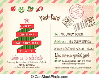 Vintage Merry Christmas holiday postcard background vector...