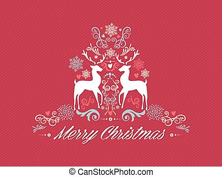 Vintage Merry Christmas text with reindeers design EPS10 file.