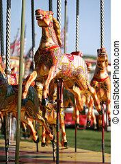 Vintage merry go round - Vintage childrens horse merry go...