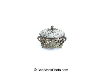 vintage metal bowl on isolated