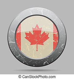 vintage metal button with flag of Canada - grunge