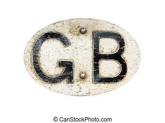 Vintage metal \'GB\' (Great Britain) car grille badge,...