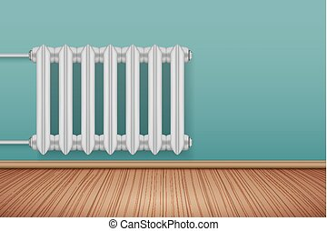 Vintage Metal Heating radiator in room