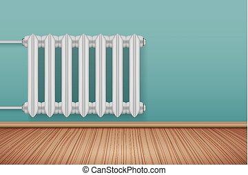 Vintage Metal Heating radiator in room