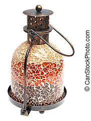 Vintage metal lamp of a mosaic of a white