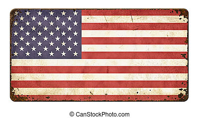 Vintage metal sign  - Flag of the United States of America