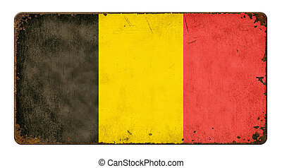 Vintage metal sign on a white background - Flag of Belgium