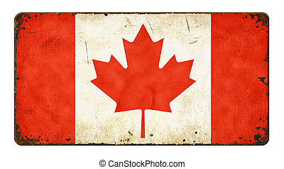 Vintage metal sign on a white background - Flag of Canada