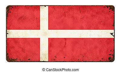 Vintage metal sign on a white background - Flag of Denmark