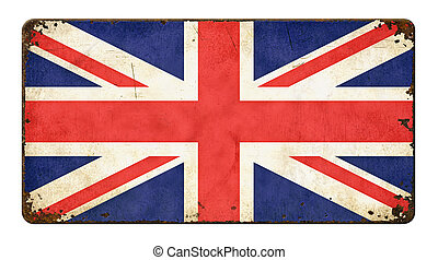Vintage metal sign on a white background - Flag of Great Britain