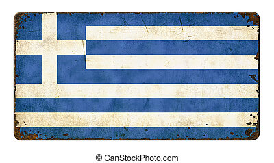 Vintage metal sign on a white background - Flag of Greece