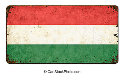 Vintage metal sign on a white background - Flag of Hungary