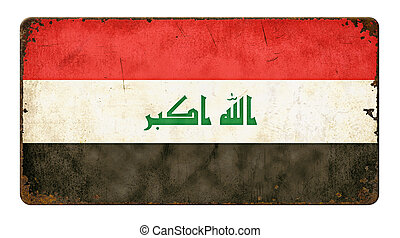 Vintage metal sign on a white background - Flag of Iraq