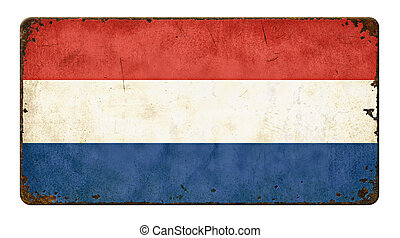 Vintage metal sign on a white background - Flag of the Netherlands