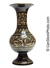 Vintage metal vase on a white background