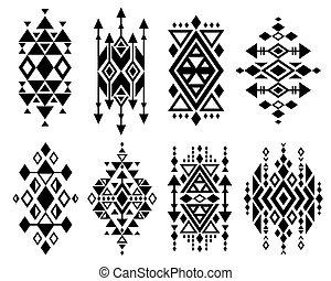 Vintage mexican aztec tribal traditional vector logo design, navajo prints set