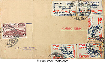 Vintage Mexican envelope with postage stamps of 1938