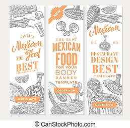 Vintage Mexican Food Vertical Banners
