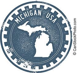 Vintage Michigan USA State Stamp - Vintage style stamp...