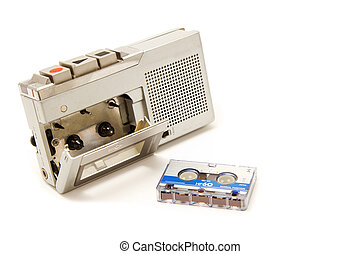 Vintage micro cassette recorder on white background