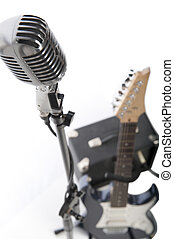 Vintage microphone, electric guitar and amp - Vintage...
