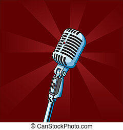 Vintage Microphone - Vector illustration of old-fashioned...