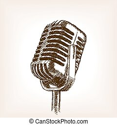 Vintage microphone hand drawn sketch style vector