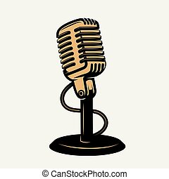 vintage microphone icon isolated on white background. Design...