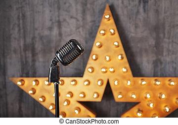 Vintage microphone in studio