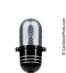 Vintage Microphone Isolated Over White Background