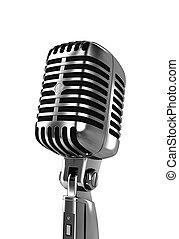 Silver metallic microphone on white background CGI