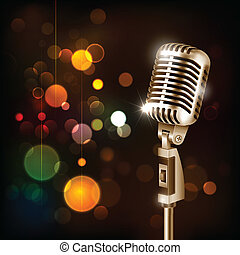 Vintage Microphone on abstract background - illustration of...
