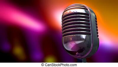 Vintage Microphone On Color Background - A chrome vintage...