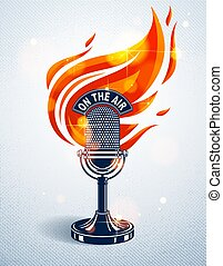 Vintage microphone on fire, hot mic in flames, studio...