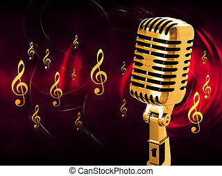 Vintage microphone on the background