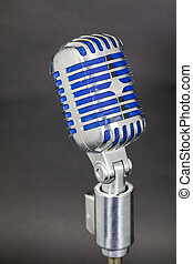 Vintage microphone with indigo blue mesh