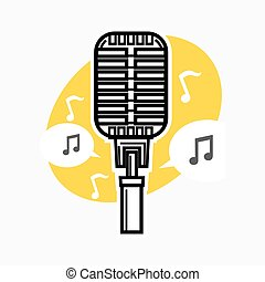 Vintage microphone with note - Vector illustration of retro...