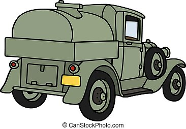 Vintage military tank truck - Hand drawing of a vintage...