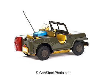 Vintage military toy car on white background