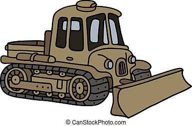 Vintage military tracked vehicle - Hand drawing of a funny...