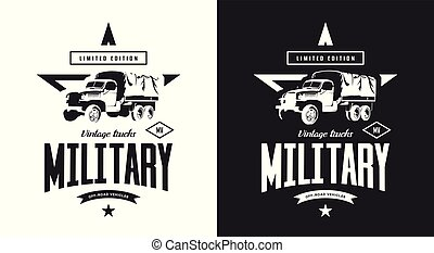 Vintage military truck black and white isolated vector logo.