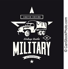 Vintage military truck vector logo isolated on dark background.