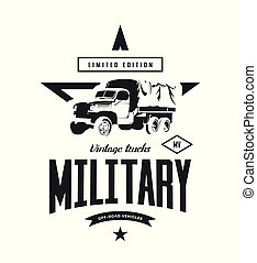 Vintage military truck vector logo isolated on white background.
