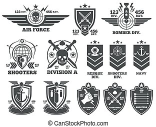 Vintage military vector labels and patches. Emblem and...