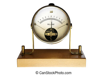 vintage mill-ampere meter on a white background