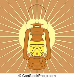 Vintage mine kerosene lamp over yellow sunrise rays. Element...