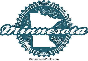 Distressed Minnesota state stamp in vector format.