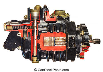 Vintage model of a classic car engine with focus on pistons